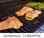 step by step. grilling salmon... | Shutterstock . vector #1130629733