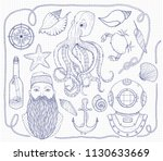 hand drawn vintage nautical set.... | Shutterstock .eps vector #1130633669