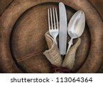 vintage silverware on rustic...   Shutterstock . vector #113064364
