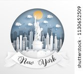 paper cut style of world famous ... | Shutterstock .eps vector #1130652509