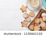 cookies and coffee on white... | Shutterstock . vector #1130661110