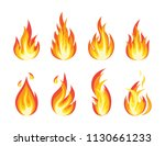 fire flames set. bright light ... | Shutterstock .eps vector #1130661233