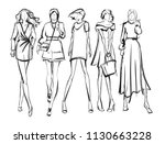 sketch. fashion girls on a... | Shutterstock .eps vector #1130663228