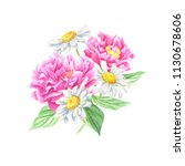 hand drawn watercolor peony and ... | Shutterstock . vector #1130678606