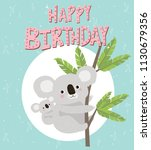 happy birthday card with fun... | Shutterstock .eps vector #1130679356
