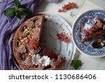 big festive chocolate cake with ... | Shutterstock . vector #1130686406