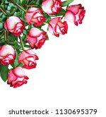 Stock photo bouquet of red and white rose flowers in a corner arrangement isolated on white background 1130695379