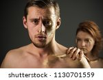 argue of man and woman. argue... | Shutterstock . vector #1130701559