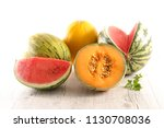 assorted melon and watermelon | Shutterstock . vector #1130708036