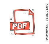 cartoon pdf icon in comic style....
