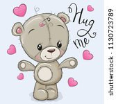 greeting card hug me with bear... | Shutterstock .eps vector #1130723789