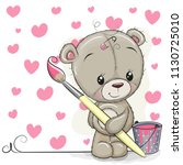 cute teddy bear with brush is... | Shutterstock .eps vector #1130725010