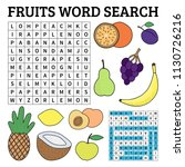 learn english with a fruits... | Shutterstock .eps vector #1130726216
