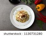 pasta carbonara and poach egg...   Shutterstock . vector #1130731280