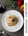 pasta carbonara and poach egg...   Shutterstock . vector #1130731298