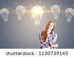 idea concept with hipster girl... | Shutterstock . vector #1130739143