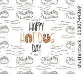 hand drawn hot dog doodle card. ... | Shutterstock .eps vector #1130744369