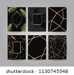 marble with golden texture... | Shutterstock .eps vector #1130745548