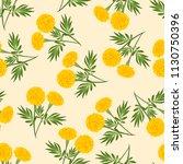 yellow marigold seamless on... | Shutterstock .eps vector #1130750396