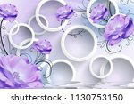 3d background  circles  purple... | Shutterstock . vector #1130753150