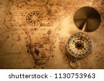 retro compass with vintage map | Shutterstock . vector #1130753963
