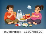 addiction to fast food. foods... | Shutterstock .eps vector #1130758820
