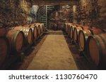 local wine cellar in burgundy... | Shutterstock . vector #1130760470