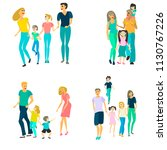set of four families with... | Shutterstock .eps vector #1130767226