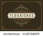 vintage ornament greeting card...   Shutterstock .eps vector #1130768699