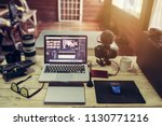the laptop camera and drone... | Shutterstock . vector #1130771216