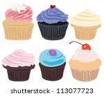 set of 6 cupcakes | Shutterstock . vector #113077723