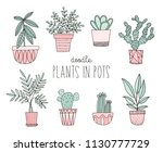 hand drawn potted plants....   Shutterstock .eps vector #1130777729