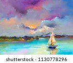 colorful oil painting on canvas ... | Shutterstock . vector #1130778296