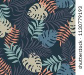 tropical background with palm... | Shutterstock .eps vector #1130779193