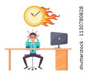 stressed male office worker and ... | Shutterstock .eps vector #1130780828