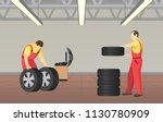 automobile service in garage... | Shutterstock .eps vector #1130780909