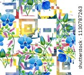 ornament of blue flowers.... | Shutterstock . vector #1130787263