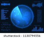 military blue radar. hud... | Shutterstock .eps vector #1130794556