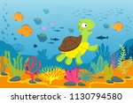 turtle in underwater scene.... | Shutterstock .eps vector #1130794580