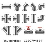 silver pipes. aluminum and... | Shutterstock .eps vector #1130794589