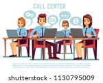 group of operators with headset ... | Shutterstock .eps vector #1130795009