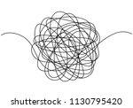 hand drawn tangle scrawl sketch ... | Shutterstock .eps vector #1130795420