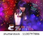 psychic tarot card reader with... | Shutterstock . vector #1130797886