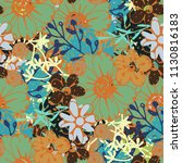 seamless pattern with flowers ... | Shutterstock .eps vector #1130816183