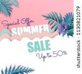 summer sale banner with purple... | Shutterstock .eps vector #1130821079