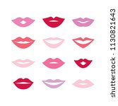 set of different women's lips... | Shutterstock .eps vector #1130821643