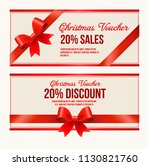 gift voucher template with red... | Shutterstock .eps vector #1130821760