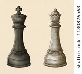 hand drawn chess king and queen ... | Shutterstock . vector #1130826563
