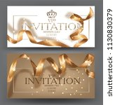 vip invitation cards with gold... | Shutterstock .eps vector #1130830379