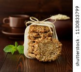 homemade oatmeal cookies with... | Shutterstock . vector #1130833799